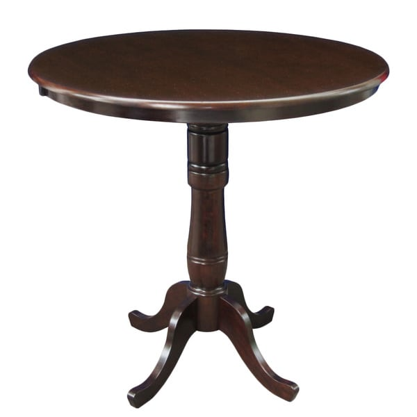 Rich Mocha 36 Inch Round Pedestal Table With 6 Inch Base