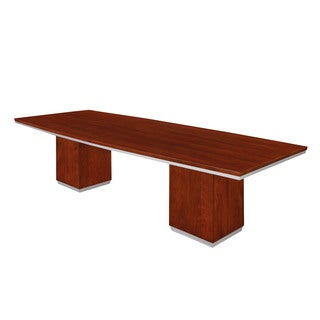10-foot Boat Shaped Bronze Cherry Conference Table