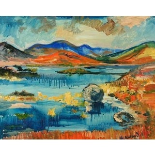 Lake with Red, Blue and Black Mountains' Oil on Canvas Art
