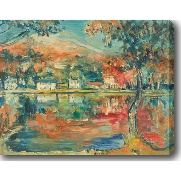 Red Autumn in the Country' Oil on Canvas Art 13741081