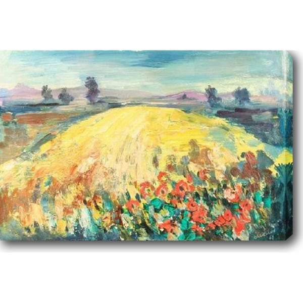 Yellow Field with Red Poppy Flowers' Oil on Canvas Art