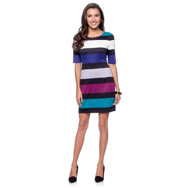 Jessica Simpson Women's Max Clematis Blue Ponte Shift Dress