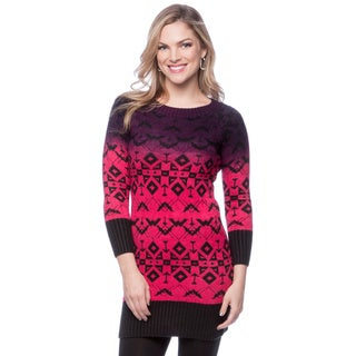 Jessica Simpson Crew Neck Long Sleeved Sweater Jacquard and Dip Dyed