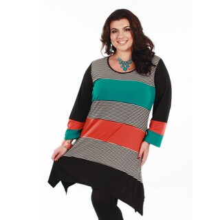 Firmiana Women's Plus Size Long Sleeve Multi Color Striped Tunic
