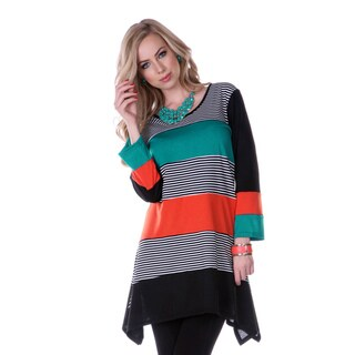 Firmiana Women's Colorblock Striped Long Sleeve Tunic