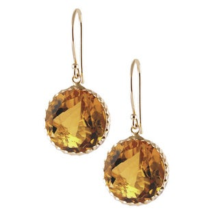 14k Yellow Gold Round-cut Citrine Dangle Earrings