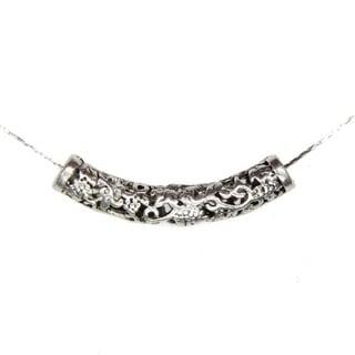 Tibetan Silver Filigree Curve Tube Pendant Necklace (China)