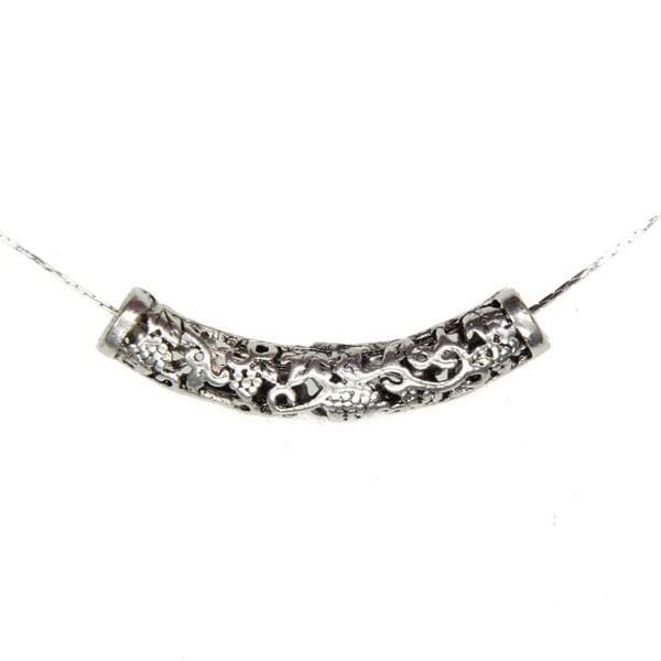Tibetan Silver Filigree Curve Tube Pendant Necklace (China)