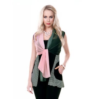Women's Stripped Sleeveless Chiffon Tie Front Tunic