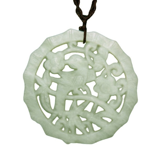 Happy Bird Green Jade Pendant Necklace (China)