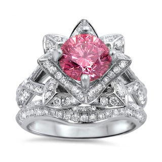 14k White Gold 2 1/2ct TDW Pink Diamond Lotus Flower 2-piece Ring Set (G-H, SI1-SI2)