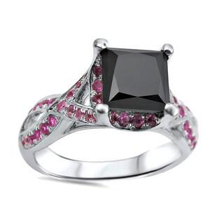 Noori 18k White Gold 1 5/8ct TDW Black Diamond and 3/4ct TGW Pink Sapphire Ring
