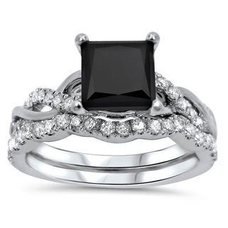 Noori 14k White Gold 1 1/2ct TDW Black/ White Princess-cut Diamond Bridal Ring Set (F-G, SI1-SI2)