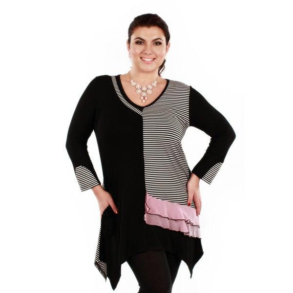 Women's Plus Size Black Stripe Pink Ruffle Long Sleeve Tunic