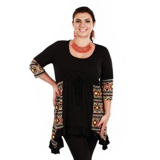 Women's Plus Size Black Abstract 3/4-length Sleeve Tunic