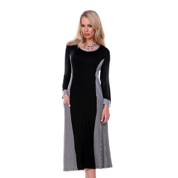 Firmiana Women's Striped Black Panel Long Sleeve Dress