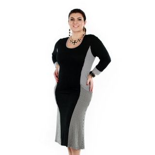Women's Plus Size Striped Black Panel Long Sleeve Dress