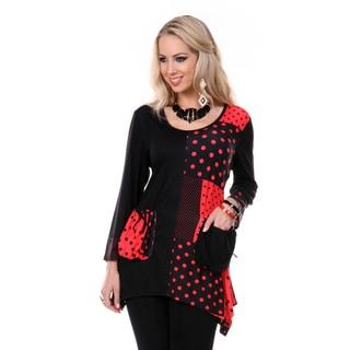 Firmiana Women's Black/ Red Polka-dot Long Sleeve Tunic