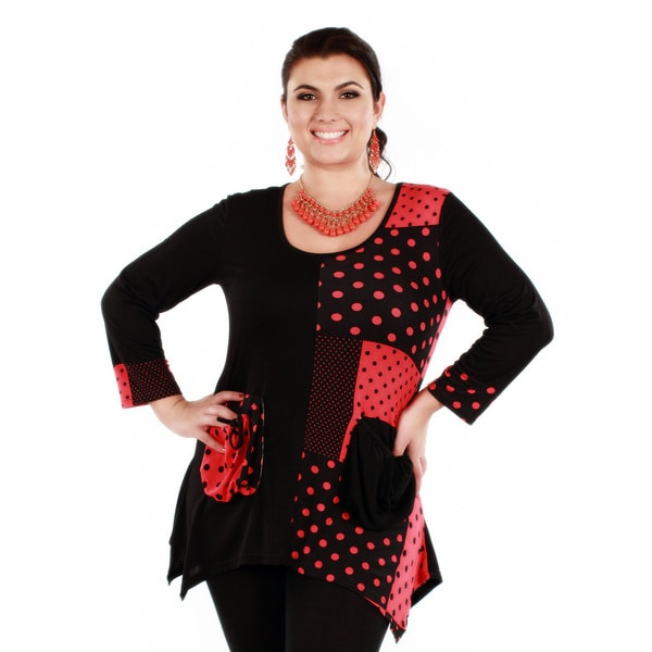 Firmiana Women's Plus Size Black/ Red Polka-dot Long Sleeve Tunic