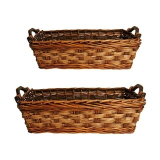 Carved Willow Rattan Baskets (Set of 2)