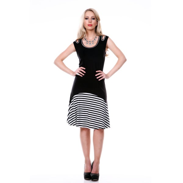 Firmiana Women's Black/ White Stripped Open Sleeve Dress