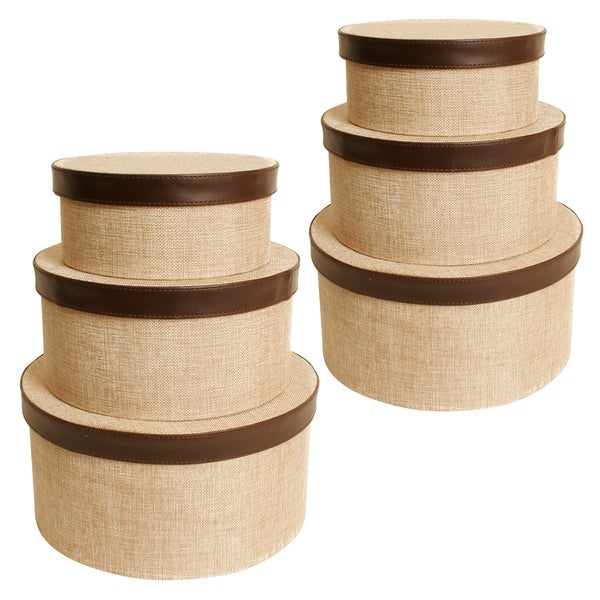 Burlap Paperboard Round Stacker Boxes (Set of 3)