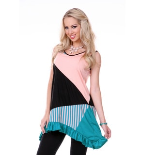 Women's Colorblock Sleeveless Stripped Patchwork Tunic