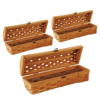 Honey Brown Wood-chip Woven Wine Boxes (Set of 3)
