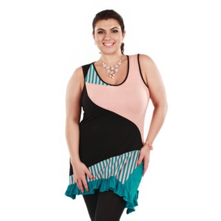Women's Plus Size Stripped Patchwork Sleeveless Tunic