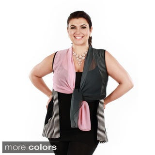 Women's Plus Size Stripped Sleeveless Chiffon Tie Front Tunic