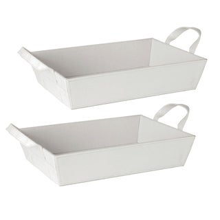White Faux Leather Decorative Trays (Set of 2)