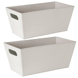 White Faux Leather Decorative Tote Boxes (Set of 2)