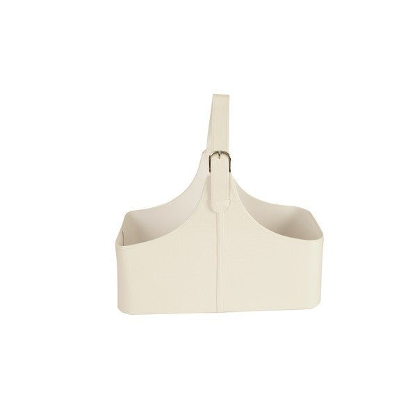 White Faux Leather Buckled Tote Basket