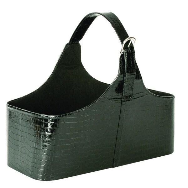 Black Faux Leather Crocodile Tote Basket