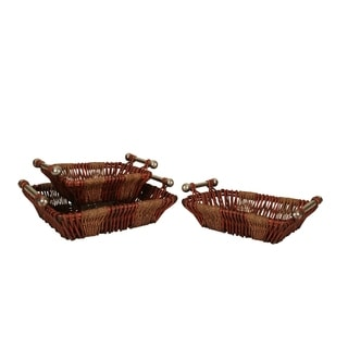 Wald Imports Willow and Rope Tray (Set of 3)