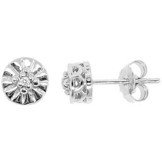 Gioelli Sterling Silver Illusion-set Diamond Accent Ridged Stud Earrings