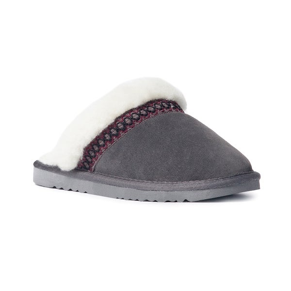 Muk Luks Women's 'Dawn' Grey Suede Scuff Slippers