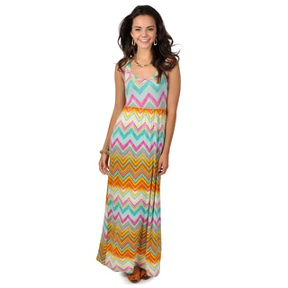 Hailey Jeans Co. Junior's Chevron Print Sleeveless Maxi Dress