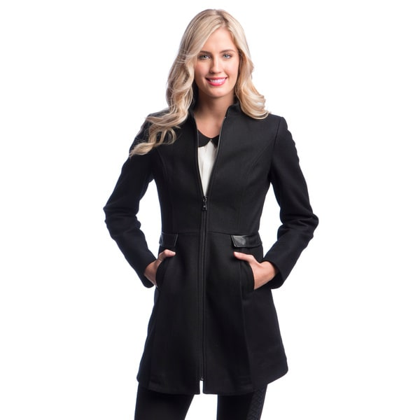 Laundry By Design Center Front Zip Wool Coat with Stand Collar (As Is Item)