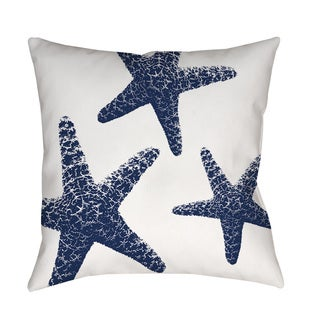 Thumbprintz Nautical Nonsense Blue White Starfish Indoor/ Outdoor Throw Pillow