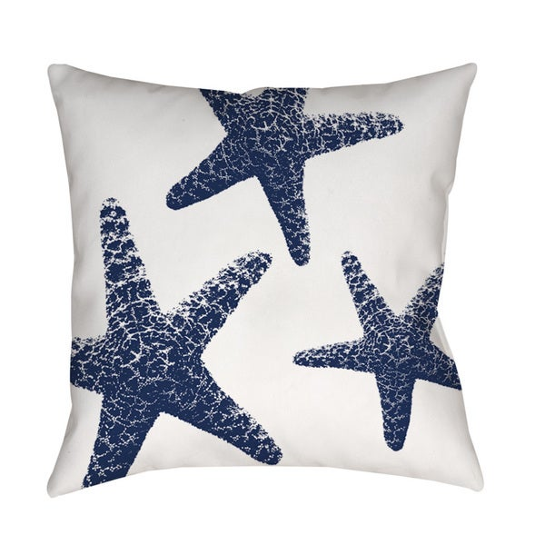 Thumbprintz Nautical Nonsense Blue White Starfish Indoor/ Outdoor Throw Pillow - 16489917 ...