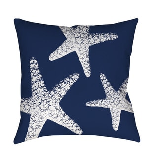 Thumbprintz Nautical Nonsense White Blue Starfish Indoor/ Outdoor Throw Pillow