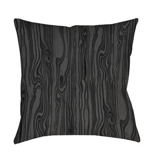 Thumbprintz Wood Grain Large Scale Black Indoor/ Outdoor Throw Pillow