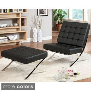 Furniture of America Mauslo Modern Faux Leather 2-Piece Chair and Ottoman Set