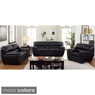 Furniture of America Darrell Faux Leather 3-Piece Sofa Set