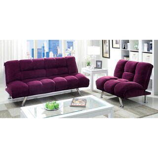 Furniture of America Maybeline Modern Flannelette 2-Piece Futon Set