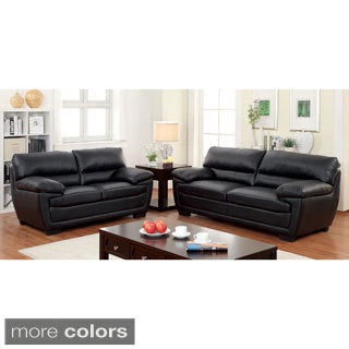 Furniture of America Darrell Faux Leather 2-Piece Sofa Set