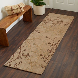 Hand-tufted Sakura Branch Floral Runner Wool Area Rug (2' x 8')