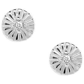 Gioelli Sterling Silver Diamond Accent 8 mm Ridged Round Stud Earrings
