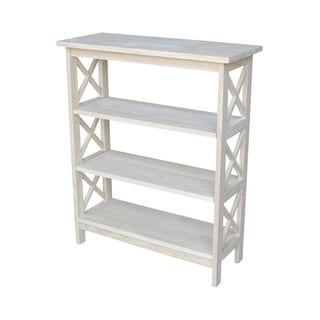 Unfinished Parawood Three-tier X-sided Shelf Unit